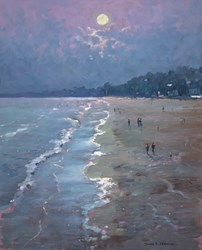 Moonlight (Bournemouth) by James Preston - Original Painting on Board sized 17x21 inches. Available from Whitewall Galleries